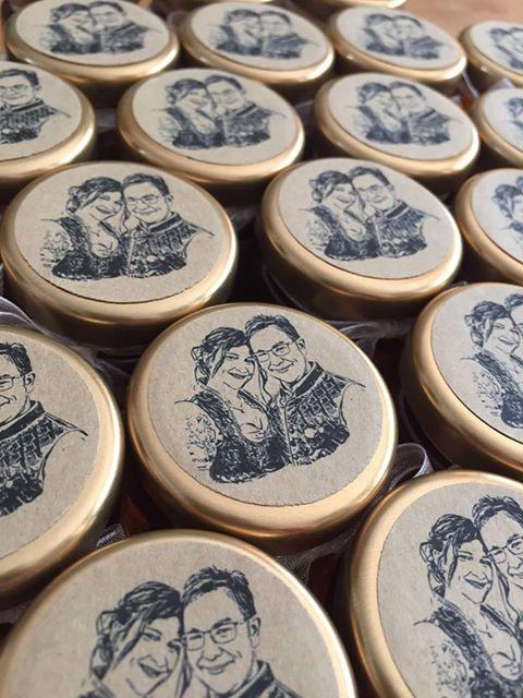 Gastgeschenk-Hochzeit-Marmeladenglaser-Fotoaufkleber-Fotostempel