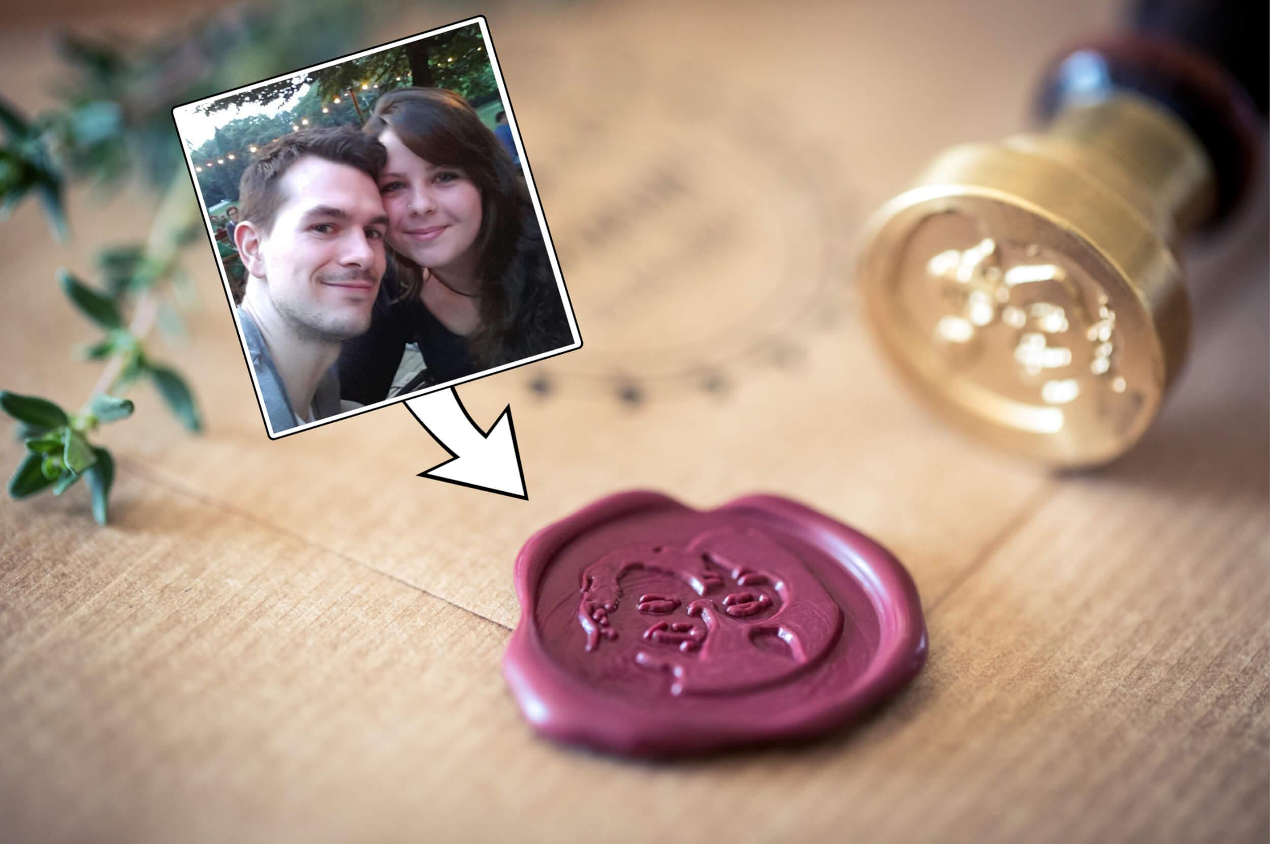 1-Siegel-mit-Gesichtern-Brautpaar-Hochzeitssiegel-Fotosiegel-individualisiert-Fotogruesse